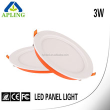Factory price 3 watt round recessed wall mounted led panel light
