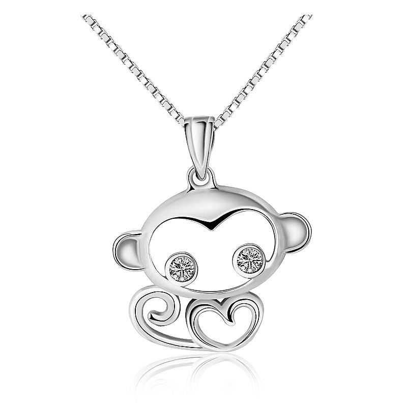 Wholsale cute Monkey animal charms necklace pendant 925 sterling silver pearl zircon cage pendant