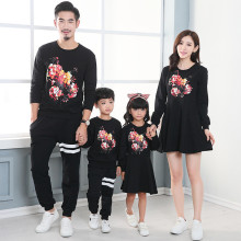 Family Look Matching Clothing Winter Long-Sleeved T-shirt Clothes Outfits Mother And Daughter Dresses Father Son Baby Boy Girl