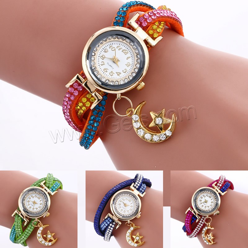 2016 Fashion Watch Bracelet with Velveteen Cord hot sale plated wacthes with rhinestone