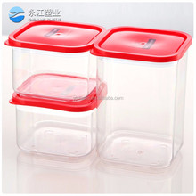wholesale kitchen storage box set plastic square crisper with lock transparent storage