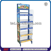 TSD-M049 custom supermarket pos biscuits display shelf/metal wire basket display rack/free standing wire display racks