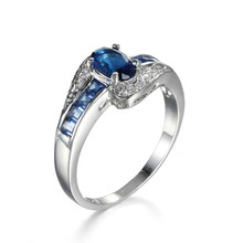 Handmade 18K White Gold Plated Oval Cut Zircon Diamond Ring Women Blue Sapphire Gemstone Engagement Ring