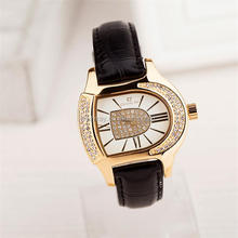 2014 fashion D shape gold plated man watch