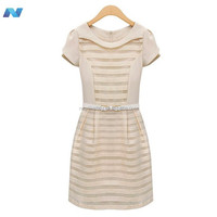 Womens European Style High Street Casual Dress Noble Short Sleeve Office Business Mini Dress