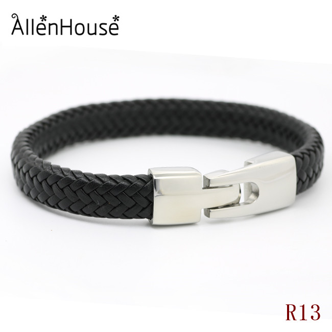 Best gift creative design 316 stainless steel jewelry muscline soft nappa leather bracelets for father and boyfriend