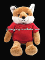 High quality cute and lovely stuffed soft plush fox toy with red T-shirt in low price