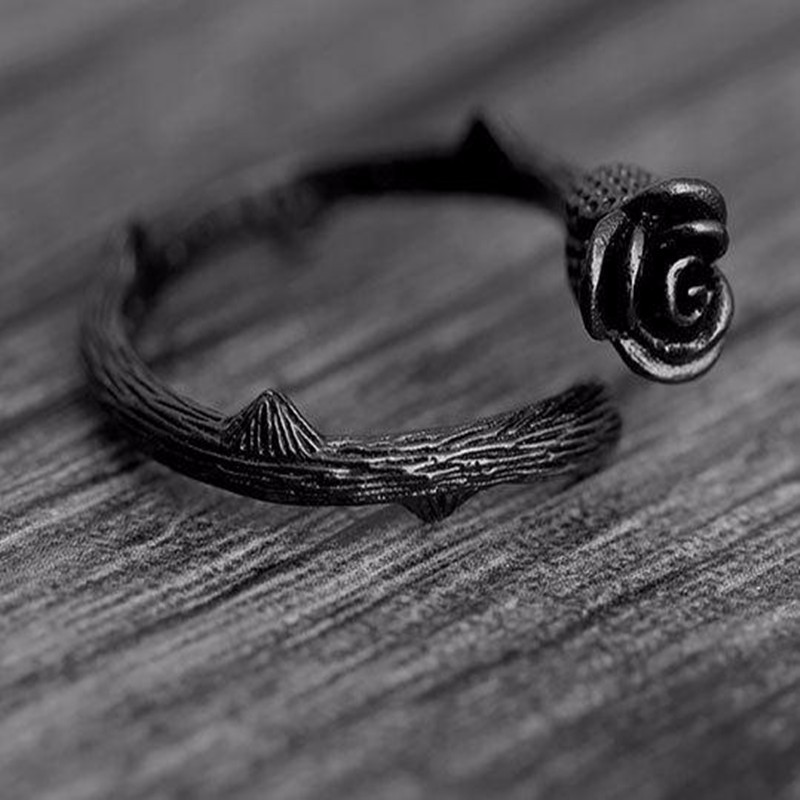 Fashion Jewelry Set Black silver Rose Shaped Flower Ring