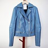 Light Blue Ladies Sexy Faux Leather PU Jacket for Spring Autumn