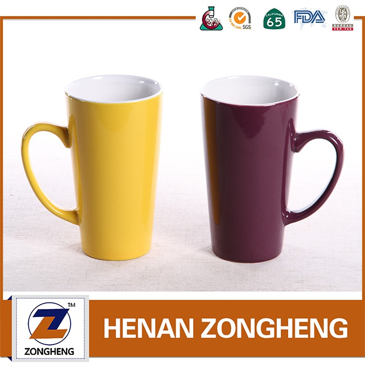 16oz two tone tall v shaped coffee mug