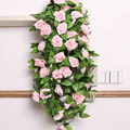 Artificial Fake Silk Rose Flowers Plant Rattan Vines For Wedding Arches Decor