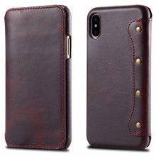 Premium Folio PU Leather Wallet Case with Kickstand Card Slots Cash Bag Magnetic Closure Flip Cover Case for iPhone X CA6095