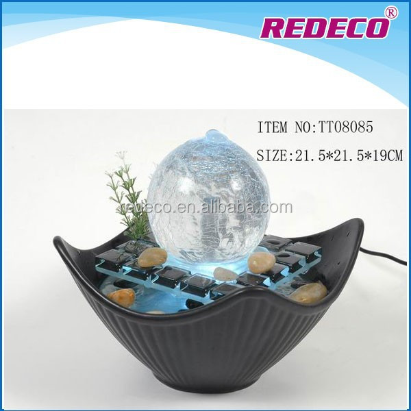 LED light indoor ceramic small table top fog water fountain
