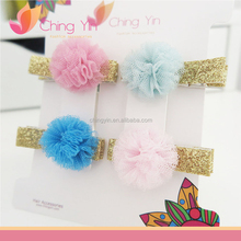 Cute Baby Girls' Fashion Hair Accessories Light Pink/Pink/Light Blue/Blue Tulle Flower Hair Alligator Clip