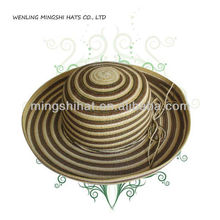 multi color paper straw hat with strip paper braid for lady