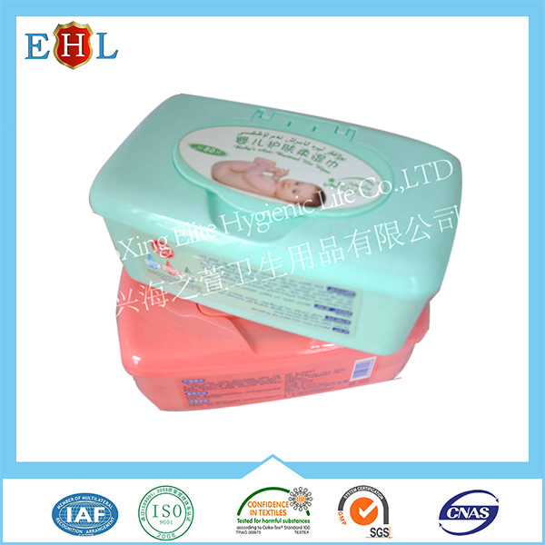 2016 Alcohol-free Soft flushable Baby Wet Wipes 80 Pcs with plastic lid