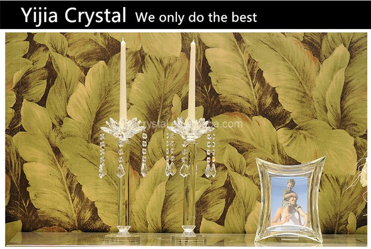 Exquisite Single-Head Tall Crystal Glass Candle Holders for Wedding and Home Decorations