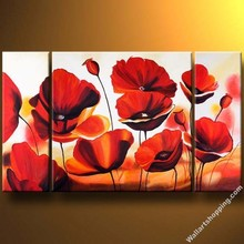 canvas oil painting of most beautiful red flower