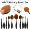 Multi-purpose Professional Foundation Powder Brush Kits, 10pcs Tooth Brush Oval Makeup Brush Set