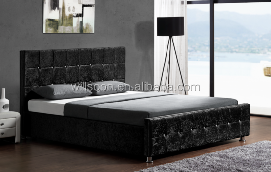 Simple Block Design Bedroom Furniture Chenille/Velvet Fabric Gas Lift Up Storage Bed 1149G