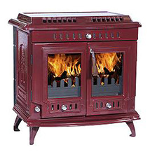 2017 New Arrival Freestanding Red Enamel Cast Iron Wood Burning Stove For Sale