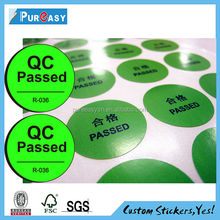 Chinese manufacturer paper round qc pass stickers
