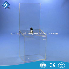 Factory wholesale clear acrylic donation boxes with lock and key fast delivery