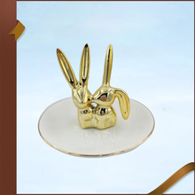 Ceramic golden easter bunny jewellry stand rabbit ring holder