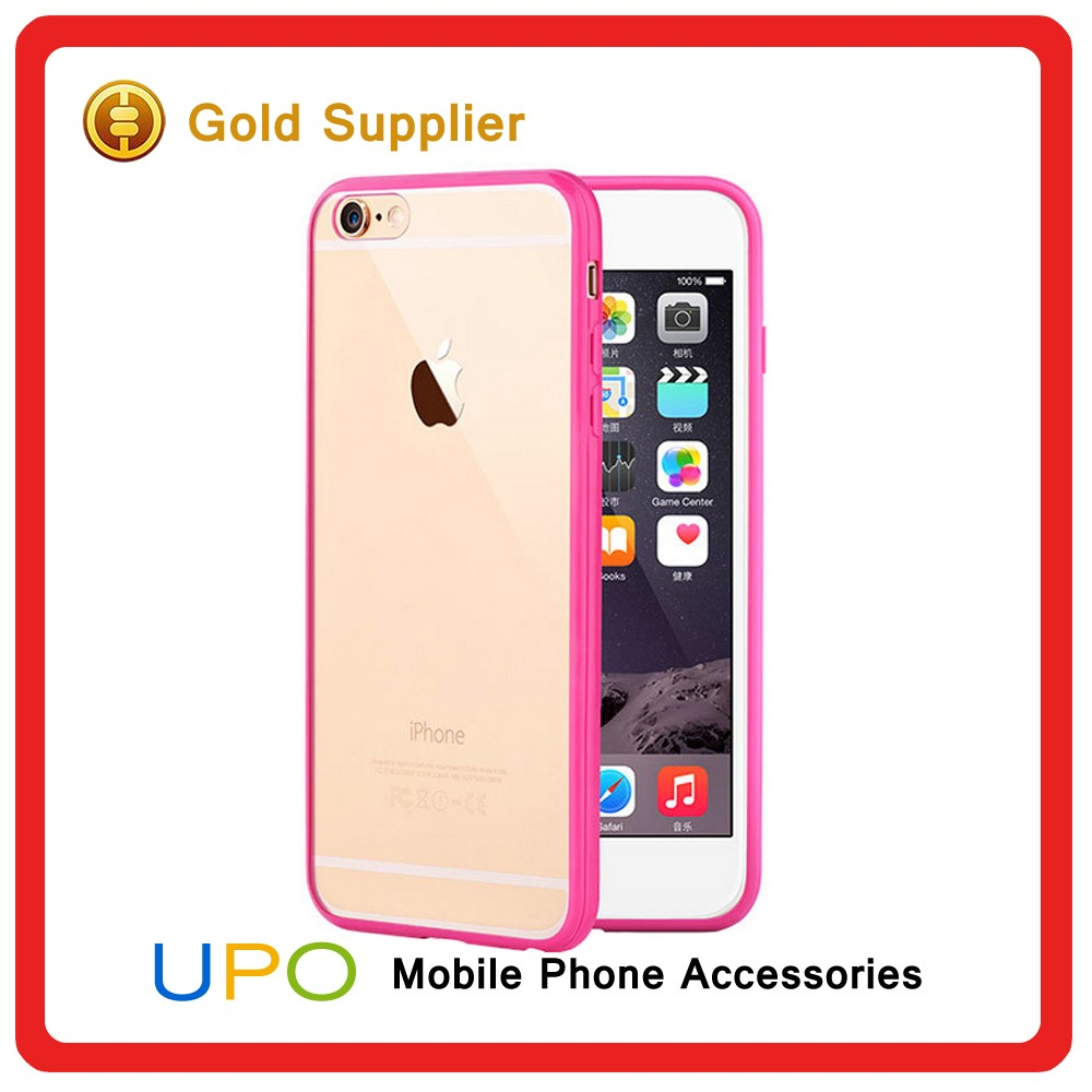 [UPO] Hot Selling Colorful Bumper Shockproof Clear PC Back Cover Cases for iphone 6
