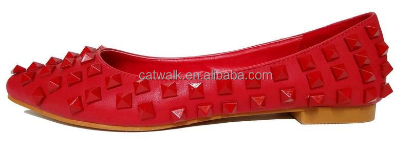 CWH039060 wholesale flat shoes 2014 fashion women rubber flat shoes/rivet red color flat shoes /sexy &hot shoes flat