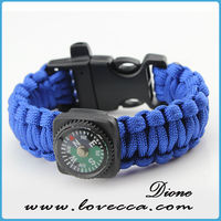 Blue braided rope wide broad compass paracord rope bracelet with black plstic bucklce