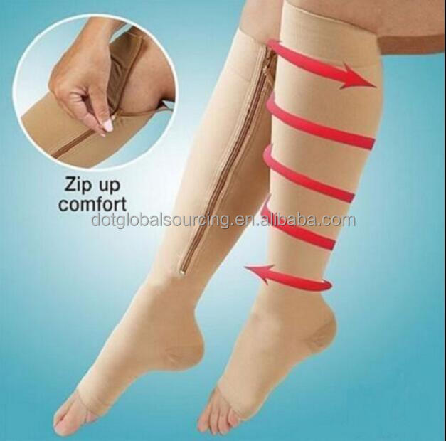 New Medical Slimming Compression Socks Zip Sox Zippered Shins Leg Zipper Open Toe Zip Up Compression Knee High Socks