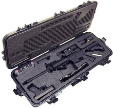 53'' AR15 Plastic Waterproof Rifle Case with Silica Gel & Accessory Box +2 Wheels+4 Latched+2 Handle