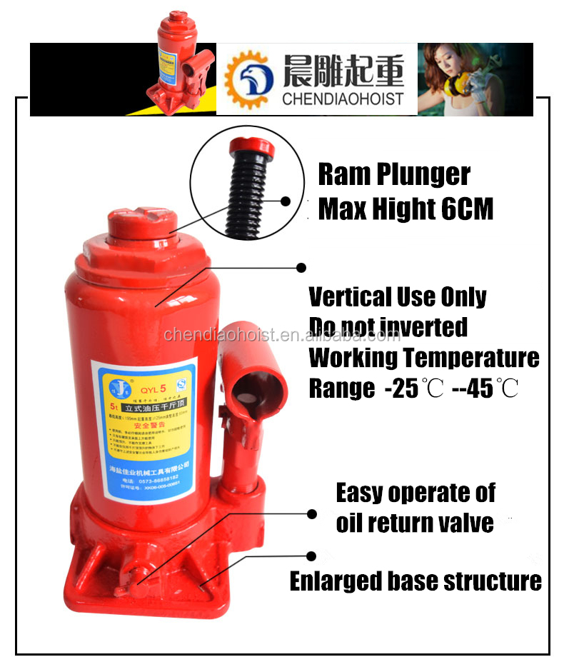High Quality Pneumatic 5 Tons Vertical Hydraulic Bottle Jack For Construction