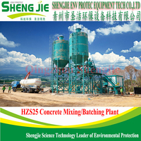 Fixed Skip Type Concrete Batch Mixing Plant for small manufacturing plantHZS25