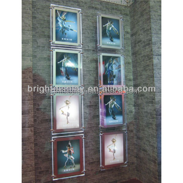 Ultrathin Wall Hanging magnetic Crystal Acrylic <strong>LED</strong> <strong>Light</strong> Pockets Real Estate Agents Window <strong>LED</strong> Display <strong>Box</strong>