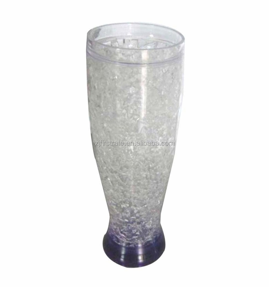 16oz Plastic ice beer mug with gel