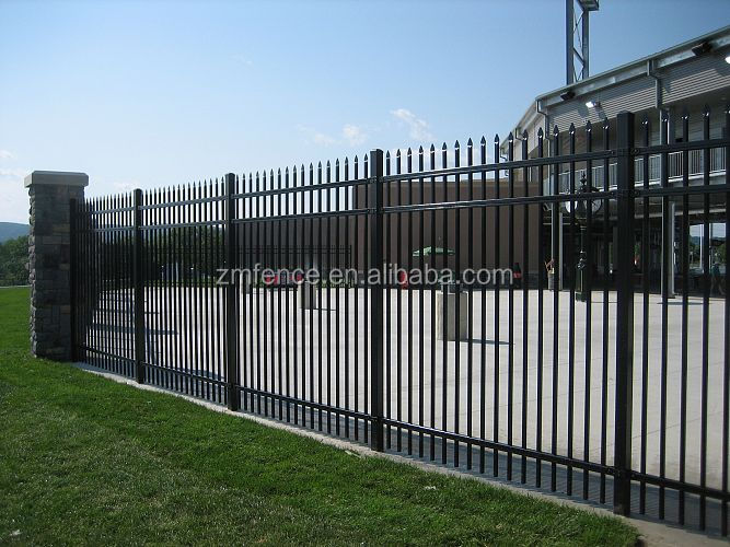 Power coated black color galvanized steel fence with cheap price