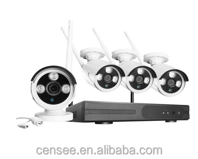 720P IP Cameras 4CH NVR Wireless Security CCTV Surveillance Systems Plug and Play Indoor Outdoor