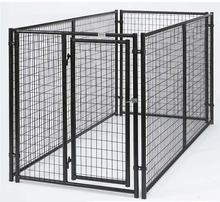 Galvanized Wire Dog Kennels , Black Powder Coated Welded Wire Panel Outdoor Modular Dog Kennel