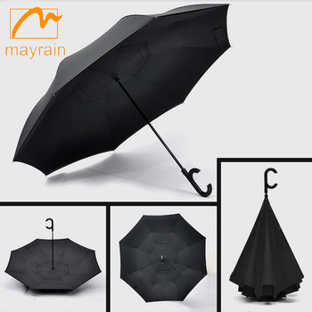 Hot Selling Reverse Umbrella Waterproof Inside Out Travel Compact Inverted Umbrella for Car