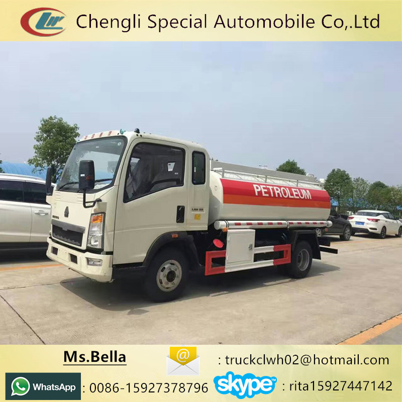Refueling Oil Tanker, HOWO 5000 liters fuel tank truck