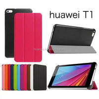 2015 new products flip smart stand leather cover case for huawei mediapad t1 wholesale alibaba