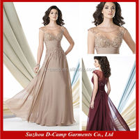ME-008 Elegant long chiffon champagne mother of the bride dresses designer mother of the bride dresses 2014