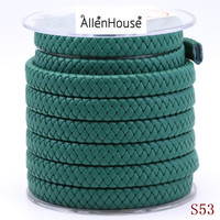 Dark Green Flat Thick Bolo Braided Plaited Handle PU Leather Strap Cord For Bags Belts and jewelry findings