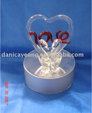 Led light up crystal swan glass figurines of great valentine gift ideas