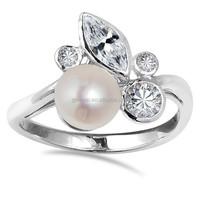 Enchanting pink freshwater pearl ring foliage 925 silver ring thailand