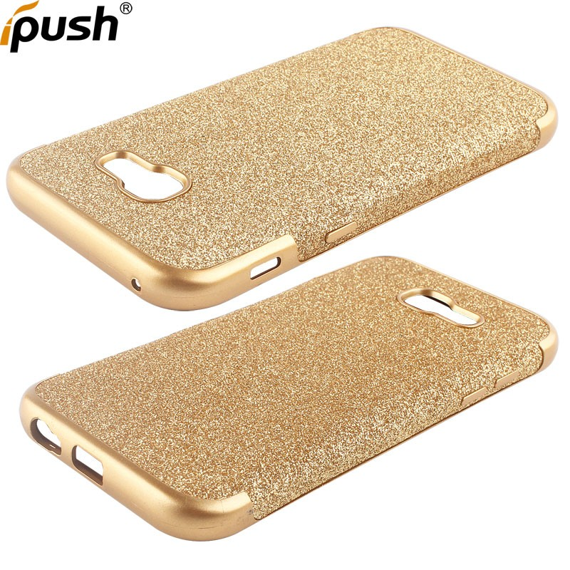 Stick leather shimmering power bling eletroplate design TPU cover case for Samsung A7 2017