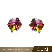 OUXI Female Earrings Jewelry Small Shinning Crystal Stud Earrings