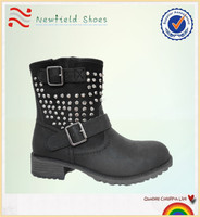 2014 fashion flat rivet lady shoes boots pictures of boots for women